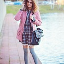 Fur Hood Pink Cotton Coat