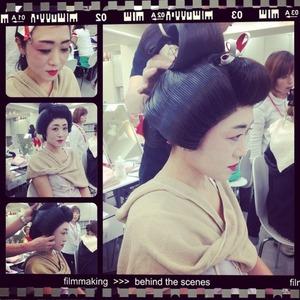 Estilo japones geisha #makeup  practicando en el colegio