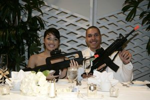 COD Theme Reception  (Famas & M4 plus Night vision goggles on our table)