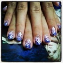 Floral Purple Fading Nails