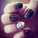 Big Glitter Hearts Gel Nails
