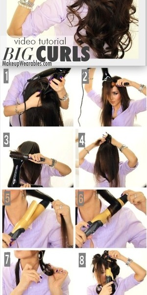 Hair tutorial video.  Learn how to create this voluminous hairstyle here http://www.makeupwearables.com/2014/02/kim-kardashian-big-curls-hairstyle.html
