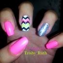 Nails - Hot Pink, Neon Yellow, Glitter, Chevron