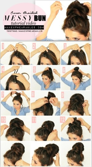 Step-by-step hair tutorial video.  See how to do this cute, messy bun on your hair here http://www.makeupwearables.com/2014/02/messy-bun-hairstyles-tutorial-video.html