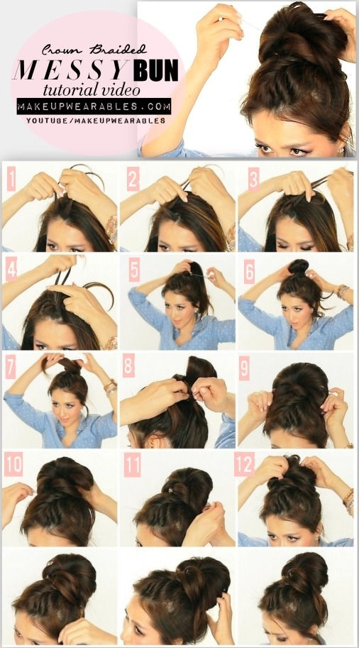 5 Minute Messy Bun With Crown Braid Tutorial Video Cute Hairstyles For Medium Long Hair Tina Makeupwearables L S Makeupwearables Photo Beautylish