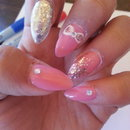 pink bow almond nails