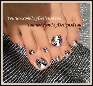 Born Pretty Mirror Polish Toenail Art #mydesigns4you #toenailart #pedicure #mirrornails #chromenails #blackandsilver