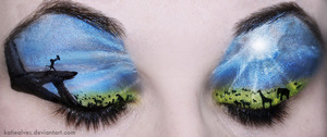 Lion King! The sky was really fun to do! Lots of mixing with eyeshadows and the white halloween cream make-up!