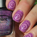 Flower lace stamping nail art