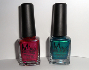 Misa Nail Lacquer:L-Wink, Blink, Let's get a Drink. R-Like it Like That. http://cosmet-a-holic.blogspot.com/2011/10/misa-nail-lacquer-in-232-and-236-review.html