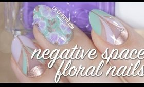 Mint & Lilac Negative Space Floral Nail Art Tutorial | Lacquerstyle