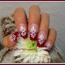 Fuchsia French Tip Nail Art Tutorial, Floral