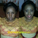 Before and after of bride's sister