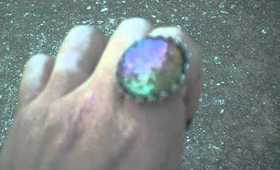 Pixie Polish Nail Polish Ring- Galaxy & Nebulae in a Hemisphere- A Space-Time Bauble