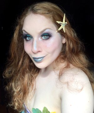 Oh my! Is that...LAND? http://www.thaeyeballqueen.com/makeuplooks/glowing-turquoise-blue-mermaid-halloween-makeup-look/