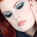 Dramatic green and silver party look
