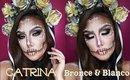 💀Catrina BRONCE y BLANCA / 🇲🇽 Sugar Skull in White & Bronze makeup tutorial | auroramakeup