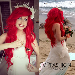 "Dyed Hair Extensions into this red shade by @tracihines! Big mermaid hair. Find more details, search ""613A"" on the website: www.vpfashion.com :)"