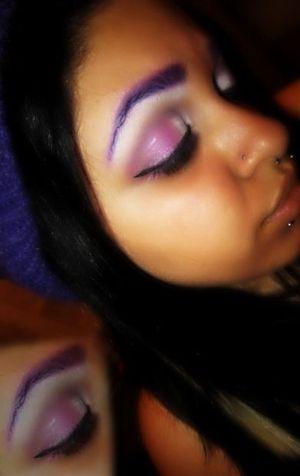 Purple Brows , White and Purple Eye shadow