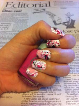I would venture to say that my first attempt at Splatter Nails was a success!!! My newest trend obsession! :)