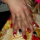 red glitter stiletto nails
