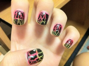 Neon Shatter Nails