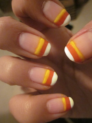 My Halloween candy corn french tips.
