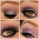 Purple glitter look collage