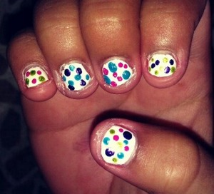 I did a white base and got polkadot happy with bright colors! :)