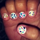 white nails with colorful Polkadots!