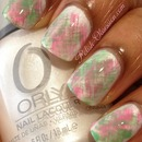 Green and pink fan brush mani
