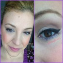winged liner with a pop of lilac