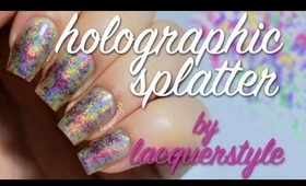 Holographic Splatter Plastic Wrap Nail Art Tutorial | lacquerstyle