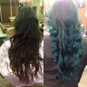 Before and after of a turquoise ombré I did on one of my clients took, two days was worth the wait and turned out beautifully😌💕