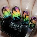 Neon Watermarble Nail Art