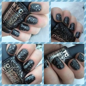 barry m black glitter layered over nyc rock muse