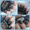 Black And Silver Speckled Nails