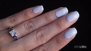 "Used OPI ""My Boyfriend Scales Walls"" and ""Care to Danse?"" with China Glaze ""Snow Globe"""
