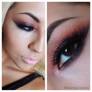 Products used: MAC coppering eyeshadow, feline pencil liner, Aura Lashes in 'so cute', and Eye Kandy glitter.