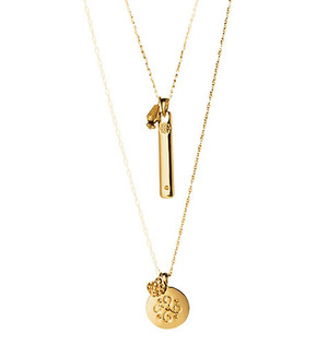 """mark Power of Change Necklace Be empowered  $28.00  Loaded with symbols of your support, these two goldtone necklaces are meant to be worn layered- or keep one and share the other with a friend. Necklace 1:18"""" L (3"""" extender) Necklace 2:25"""" L (3"""" extender"""