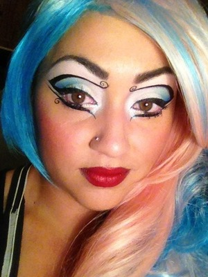 A look I did inspired by Tim Burton's art work using sugarpill loose eye shimmers in lumi,darling and tako&afterparty in the corners