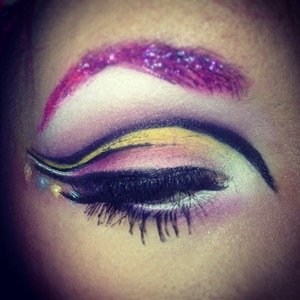 Inspired by Princessbubblegum! Glitter brows, cut crease, and a whole lot of pink!