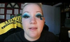 Black and Blue Feather Lashes Makeup Look