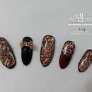 Korean fall leaves nail art