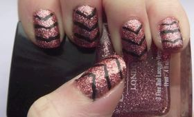 Pink & Black New Years Eve Nails