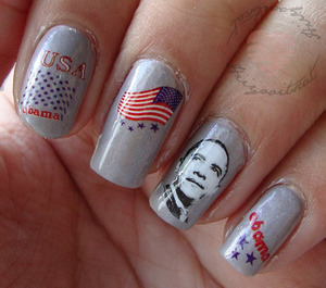 """Water decals for celebrating Obamas 2nd term!  The nailpolish I used was not available on the list but I used OPI- """"Sheer"""" your toys!"""