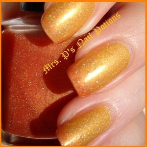 This is the brand new Firestarter available for the first time TODAY! A jelly holo thermal that goes from orange when cold to yellow when hot. Www.etsy.com/MrsPsNailPotions  Unique hand-mixed & custom nail lacquers created be me!