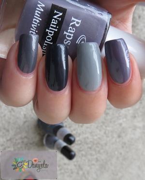 From left to the right:  - Aura She Bunny (serbian brand) #508,  - Golden Rose with protein #238, - Revlon nail enamel - Silver, - Rapsodi Multivitamin #333 Post on my blog: http://bydanijela.blogspot.com/2013/05/4-shades-of-splatter-grey.html