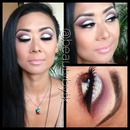 Sparkling silver lid w/ plum crease