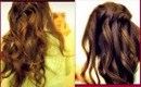 ★2 EVERYDAY HAIRSTYLES, WATERFALL FRENCH FISHTAIL BRAID HALF-UP UPDO with CURLS: MEDIUM LONG HAIR